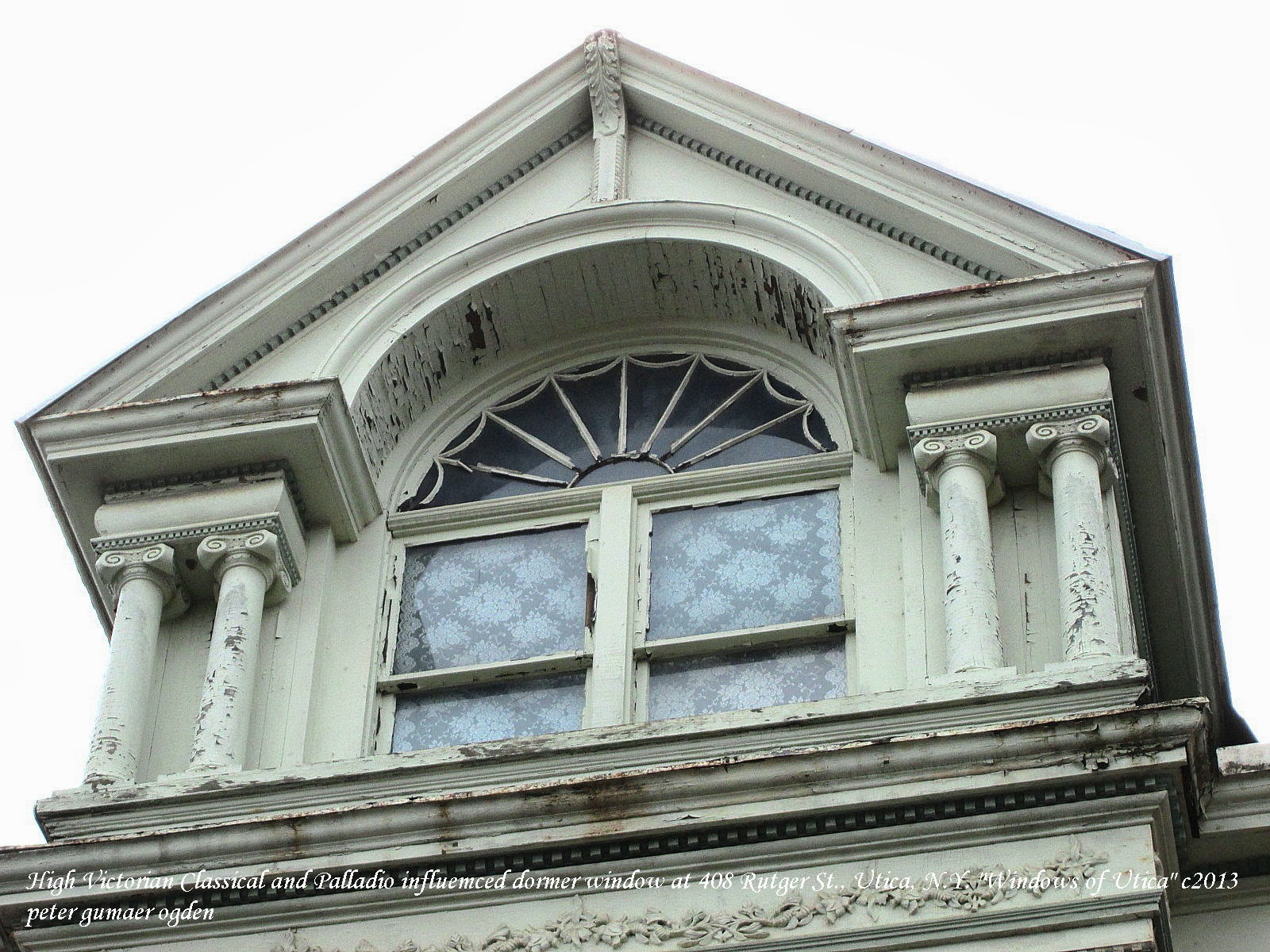 High Victorian Dormer Window With Palladian Influence Ionic Columns And Rising Or Setting Sun Fan Light At One Of Rutger Streets Better Preserved