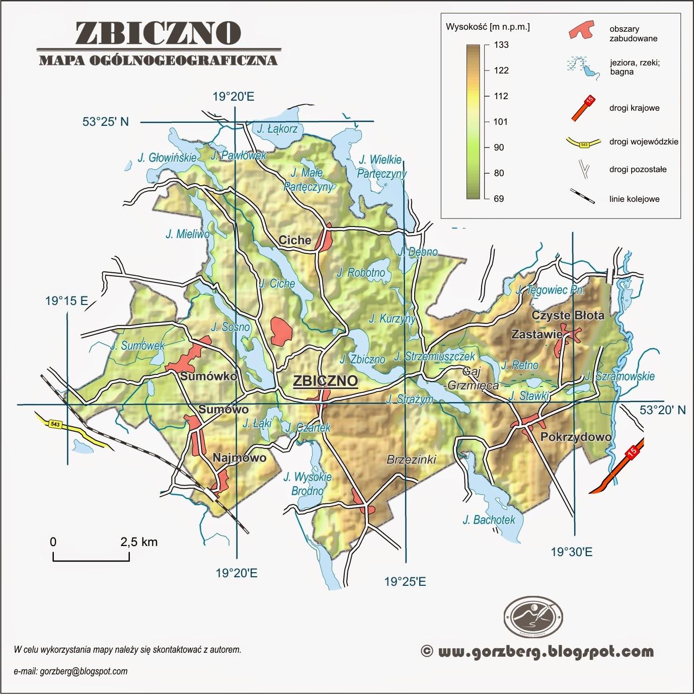 Mapa ogólnogeograficzna gminy Zbiczno