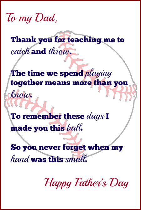 Handprint Baseball Fathers Day Gift With Free Printable Poem Sunny Family