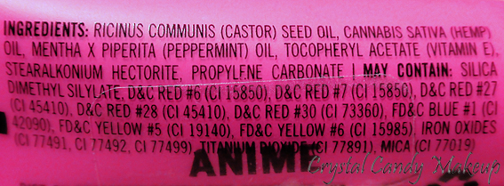 Lip Tar Anime d'Obsessive Compulsive Cosmetics OCC - Ingredients
