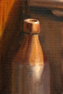 Oil painting of an antique earthenware ginger beer bottle.