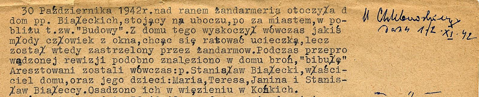 Fragment okupacyjnych wspomnień Henryka Seweryna Zawadzkiego. Dokument w zbiorach KW.