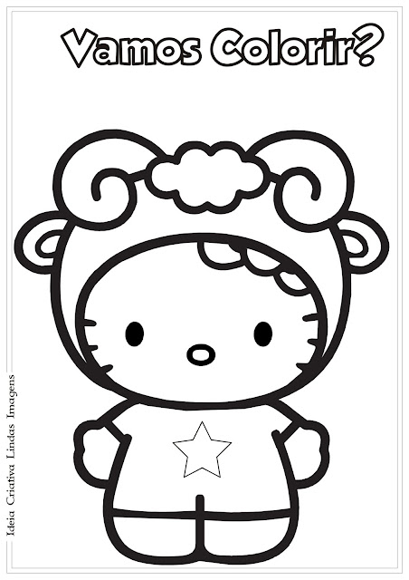 Para colorir desenho da Hello Kitty