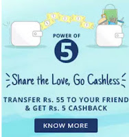 Transfer Rs 55 to wallet and get 5 Rs cashback Via paytm:buytoearn