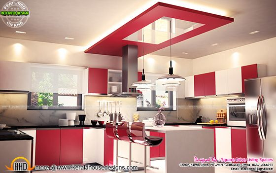Red kitchen interior, Kerala