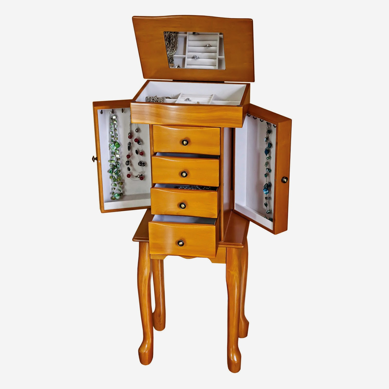 small standing jewelry armoire