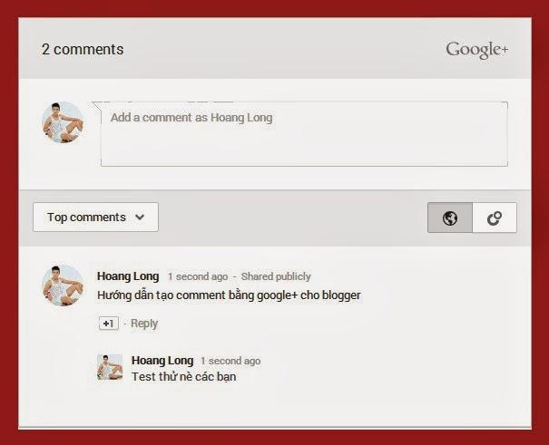 Tạo comments của Google plus cho Blogger templates