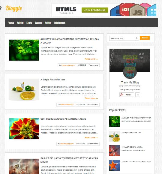 Bloggie Blogger Template Snapshot
