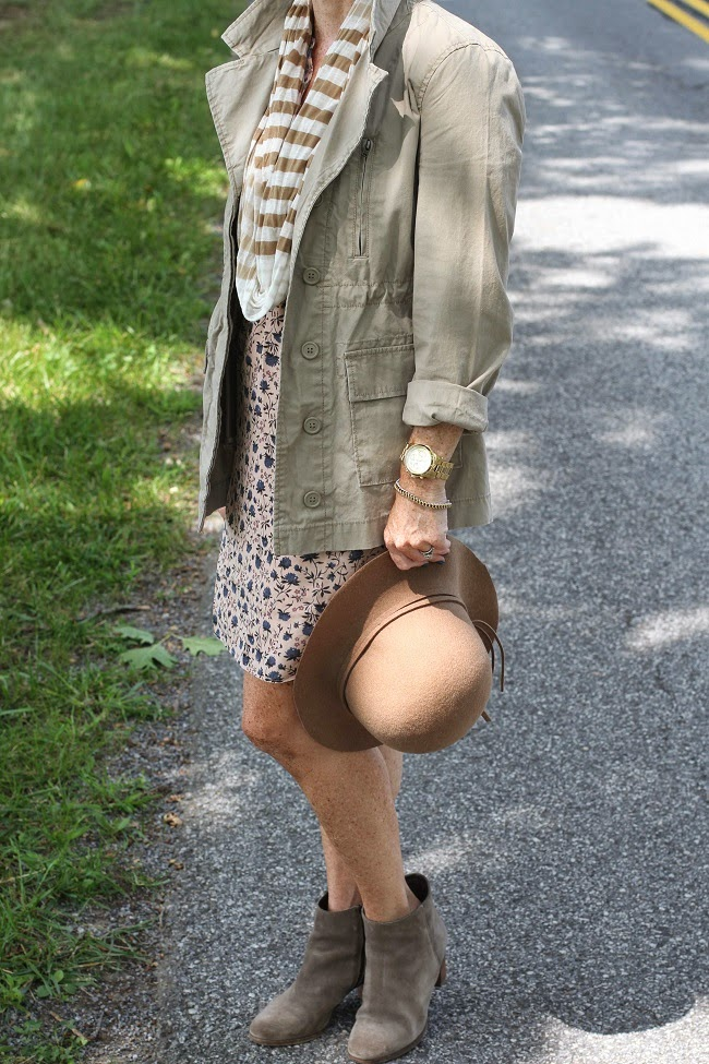 old navy utility jacket, nordstrom floppy hat, loft floral dress