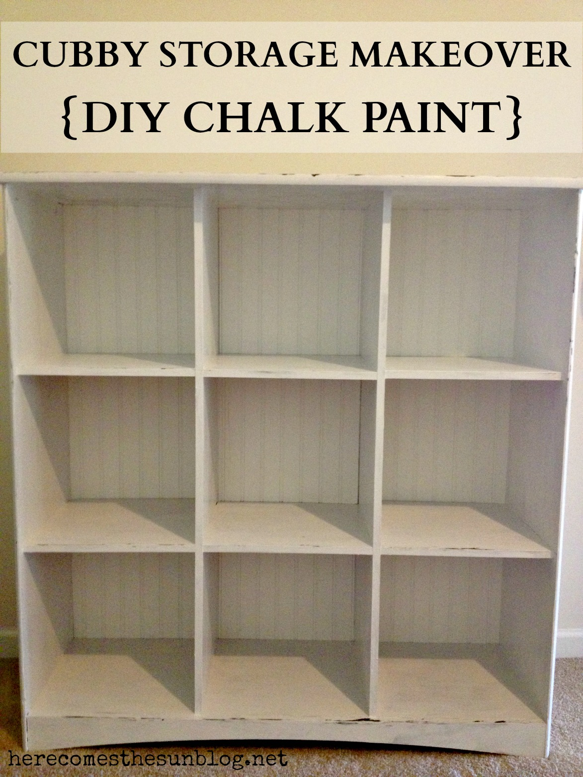 Cubby Storage Makeover {DIY Chalk Paint} - Here Comes The Sun