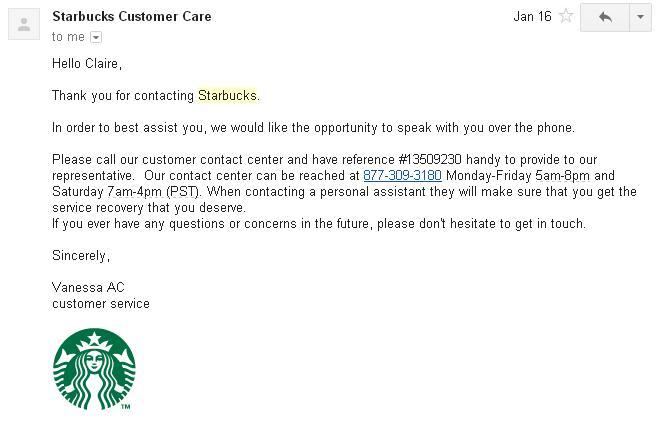 starbucks customer service phone number