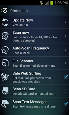 AVG Antivirus FREE for Android 3.1 - Features