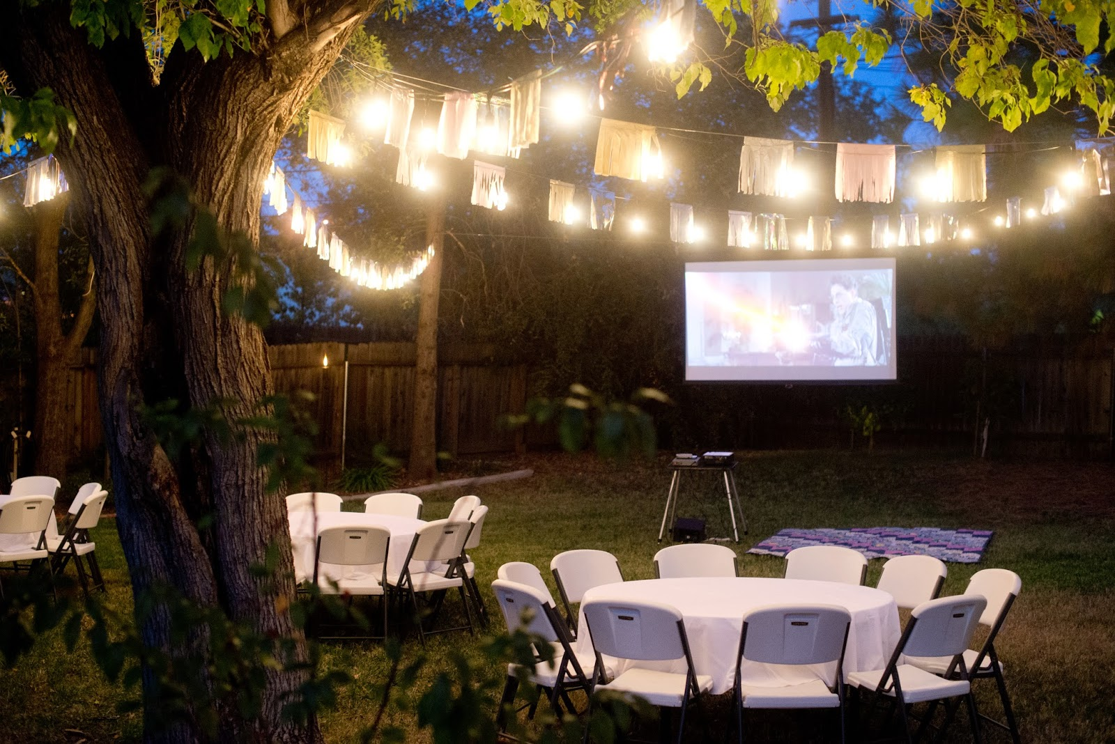 domestic fashionista fall backyard birthday party and movie night