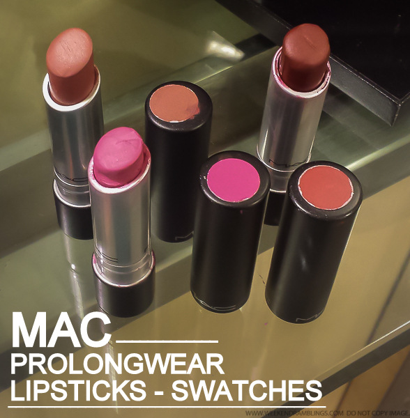 MAC Prolongwear Lipsticks - Swatches