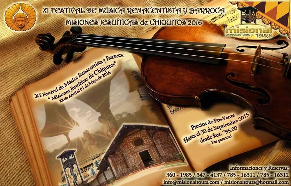 XI Festival Música Renacentista y Barroca.         Misiones Jesuíticas de Chiquitos