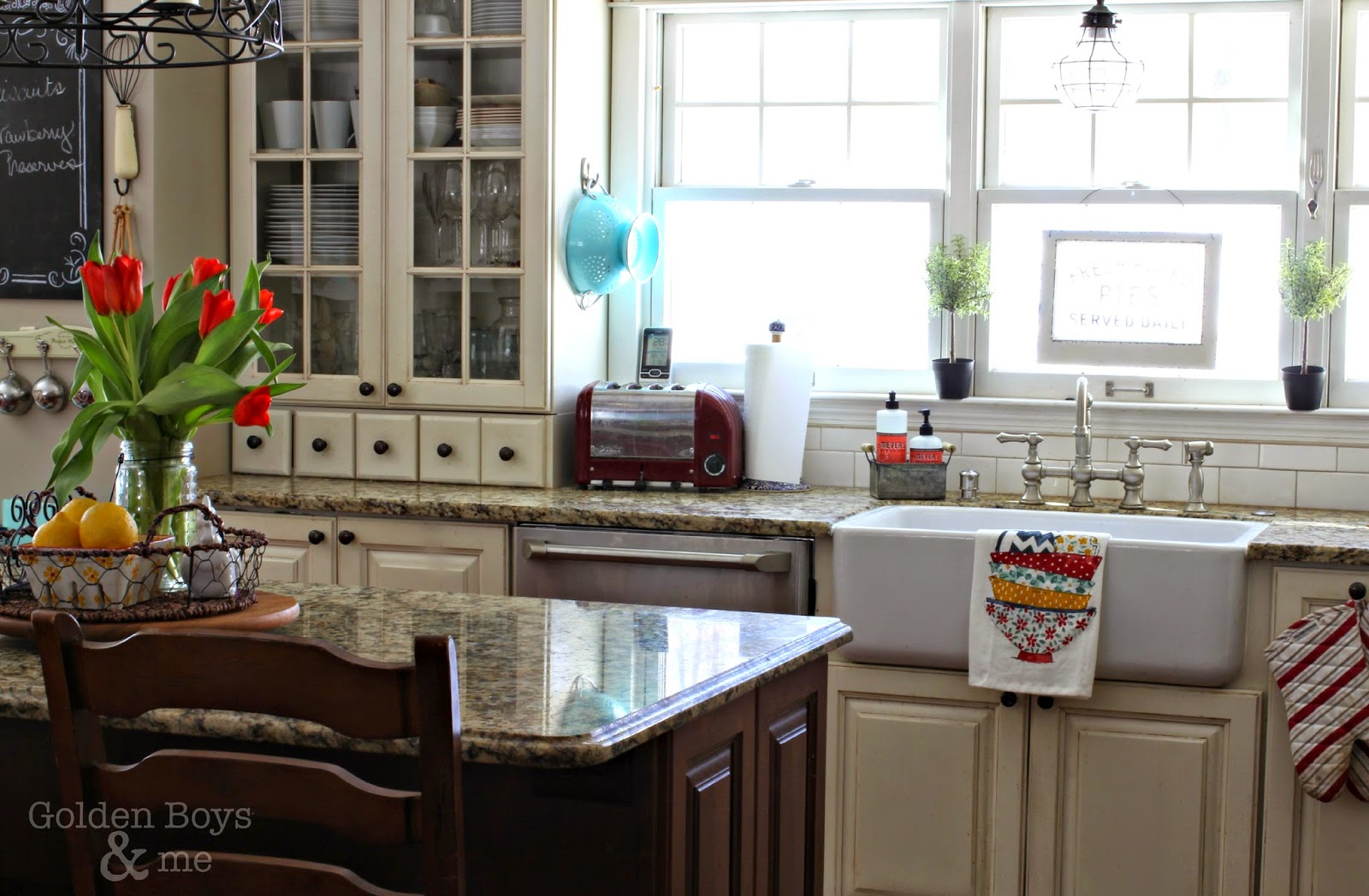 DIY kitchen with white cabinets and cherry island-www.goldenboysandme.com