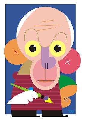 caricatura do pintor pablo picasso, feita pelo caricaturista paladino.