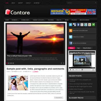 Cantera blog template. template image slider blog. magazine blogger template style. wordpress theme to blogger