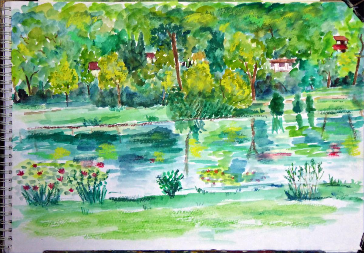 art de vivre la peinture de peintrefiguratif : croquis aquarelle au étang de Corot à Ville-d'Avray