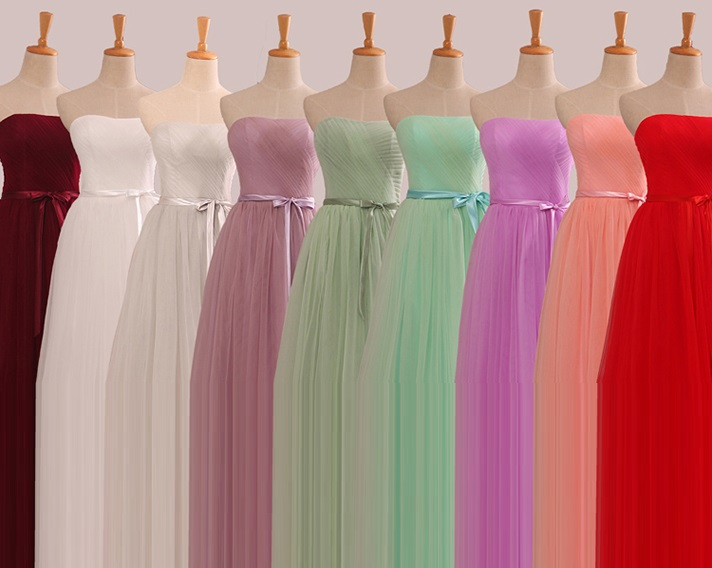 9-Colors Tutu Lace Bridesmaids Maxi Dress