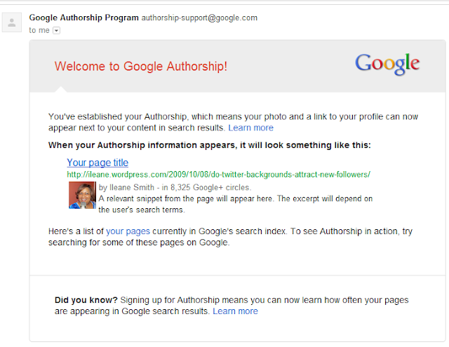 Google Authorship Confirmation