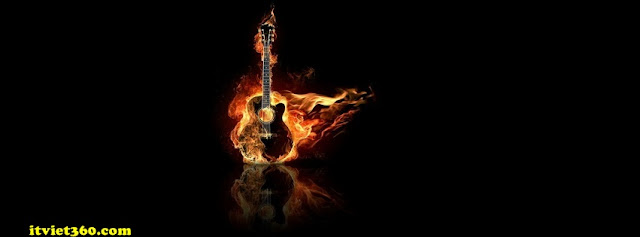 Ảnh bìa facebook 3D đẹp độc đáo - Cover FB timeline nice, cây đàn guitar