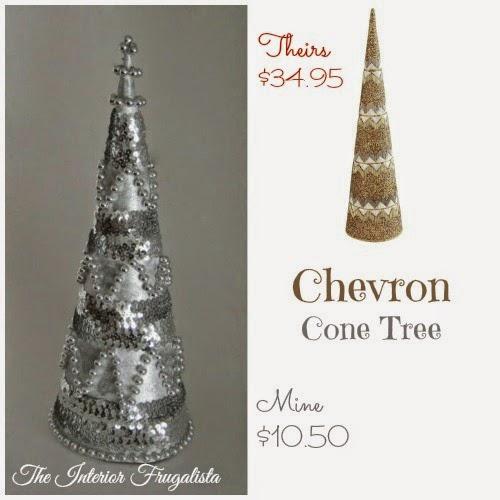 Pier 1 inspired Christmas Chevron cone tree