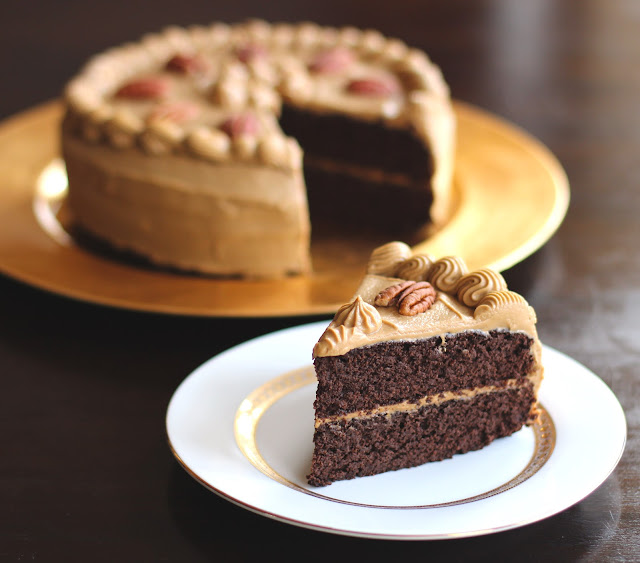 Chocolate Pear Cake with Caramel Frosting