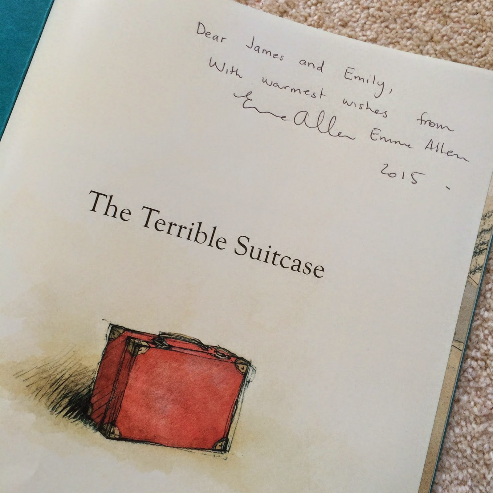 Our copy of The Terrible Suitcase signed by the Author