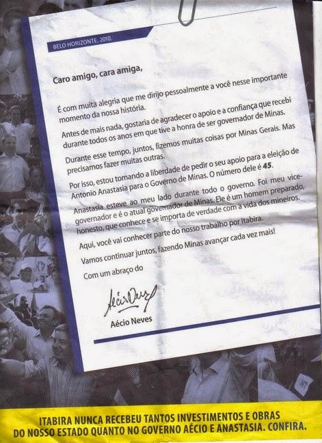 Mensagem de Aécio ao povo de Itabira, numa das páginas do panfleto
