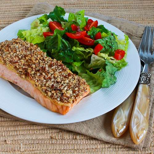 Quick and Easy Pecan-Crusted Dijon Salmon found on KalynsKitchen.com