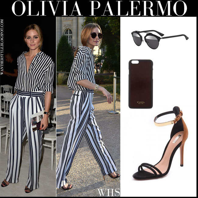 Olivia Palermo in striped black and white shirt and trousers with ankle strap Schutz Celina sandals and black Dior so real sunglasses paris july 6 what she wore front row
