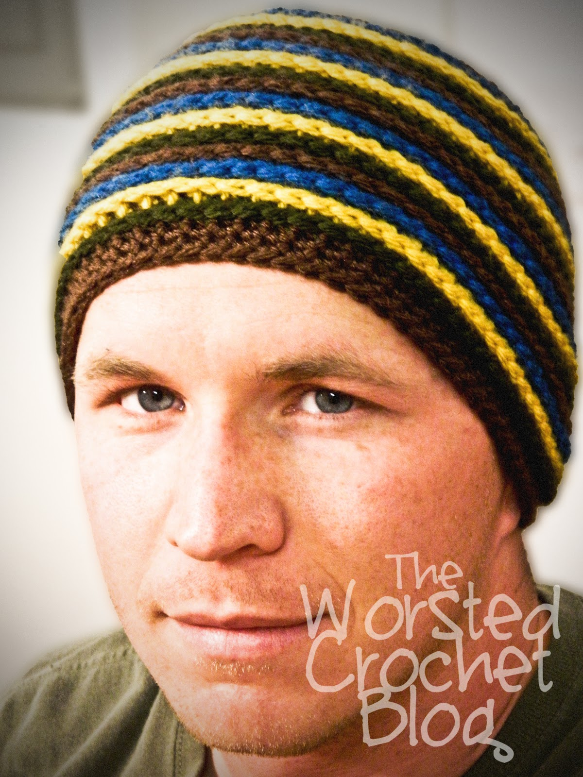 The Worsted Crochet Blog: Mens Striped Beanie Pattern FREE