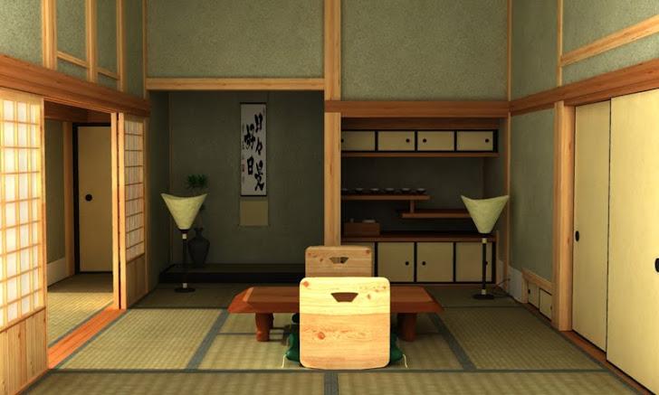 Rendu 3d d'une chambre japonaise