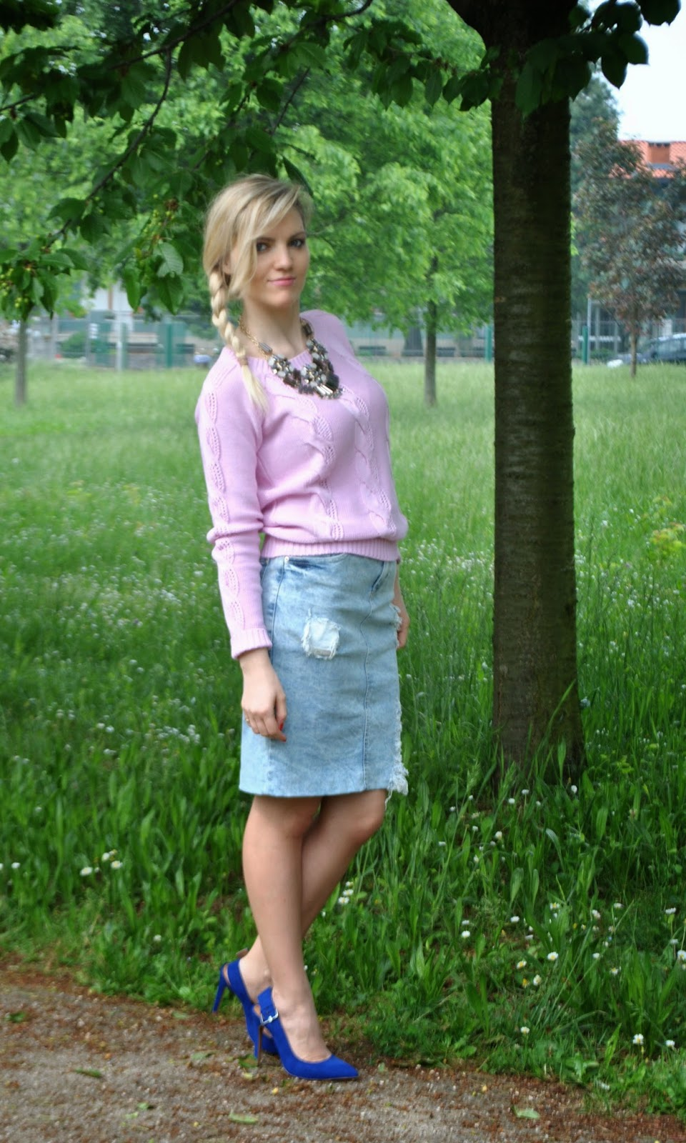 Denim Pencil Felym By Sweater Skirt Outfit Block Color Ripped wqTaHKI