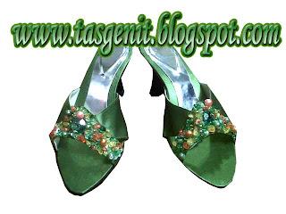 sandal pesta kebaya wanita hijau sepatu wedding pengantin