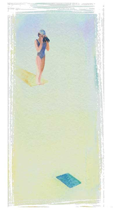 "Shiho Nakaza illustration swim ""taking the plunge"" watercolor digital"