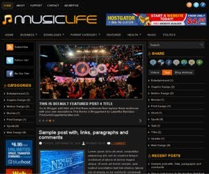 Music Life Blogger Template