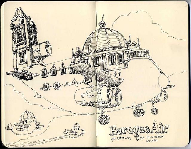 07-Baroque-Air-Mattias-Adolfsson-Surreal-Architectural-Moleskine-Drawings-www-designstack-co