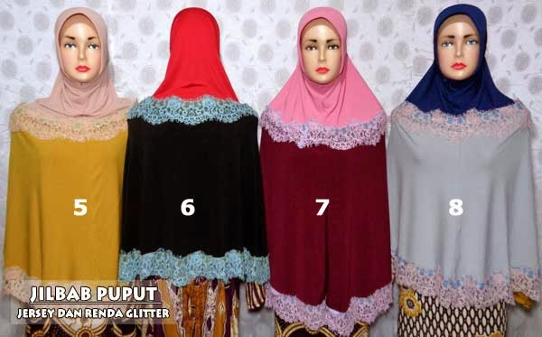 Jilbab puput melati model two tone dan renda glitter