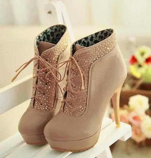 Beige High-heels Shoes With Rhinestones