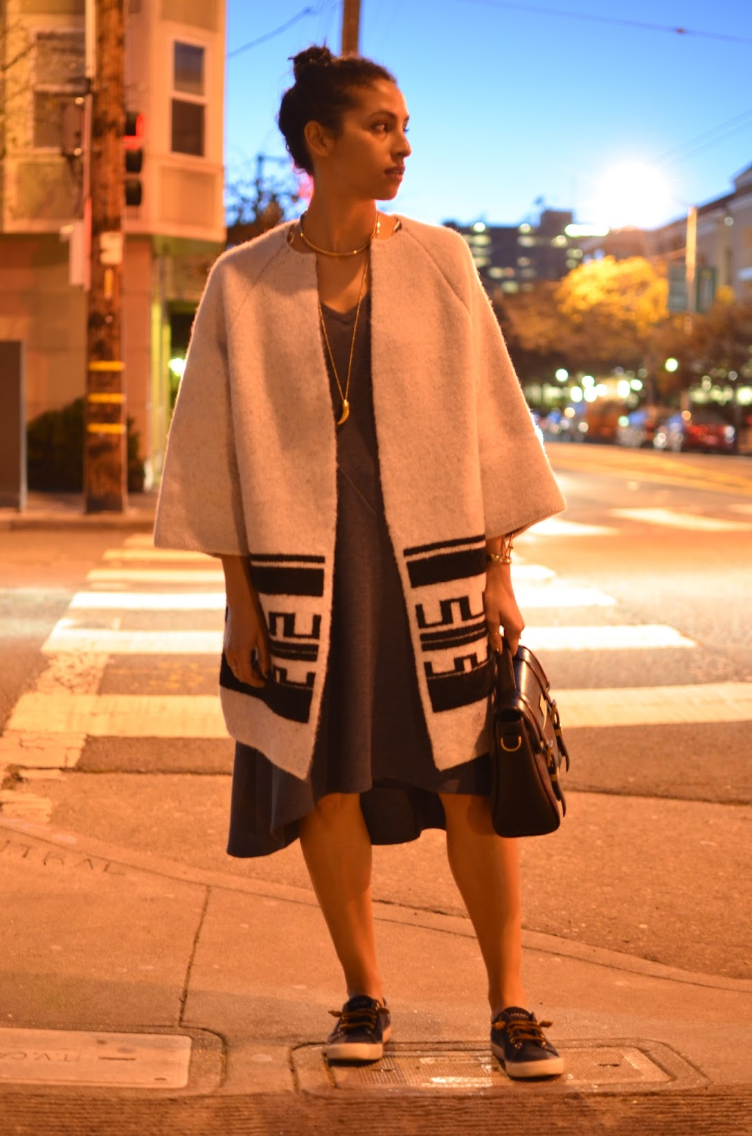 Jigsaw asymmetrical dress, cocoon coat, Sperry's sneakers, tribal coat, sneaker style