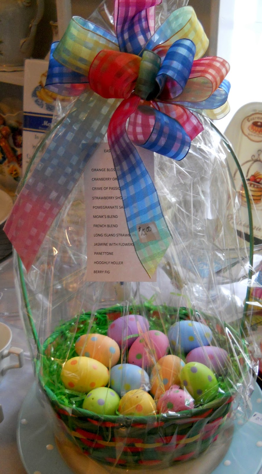 Teatime journeys tea shopping day with uncle sams niece sue panky kathys friend who i had met originally in the shop made this adorable basket this is the perfect easter gift for a tea lover negle Images