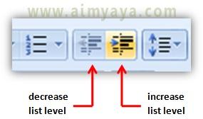Gambar:  Tombol Decrease List Level dan Increase List Level untuk pengaturan level bullet dan numbering di powerpoint