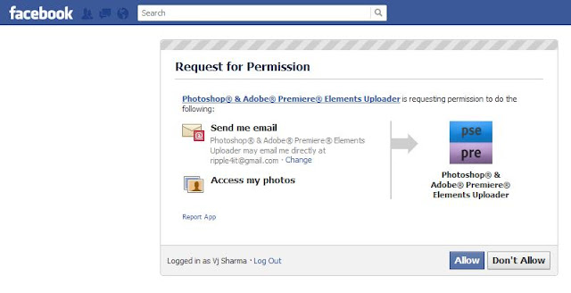 With recent release of Adobe Photoshop Elements, there is a wonderful capability added in organizer where-in we can face tag people in Organizer and same folks will automatically tagged on Facebook. Isn't it Cool? Let's see how it's possible with few clicks.. First of all, just have a look at first image where facebook tagging is happening -Just click on this image to see the large version and note facebook contacts as suggestions... Now, let's see how to achieve this capability in Elements Organizer... Let's go step by steps and hope that you will soon realize the way it works :1. Select a photograph in your Organizer and go to Share Tab on right.2. Click on 'Share to Facebook'3. Following dialog will be shown on clicking Facebook option.4. Now check the option for downloading facebook contacts and click Authorize...5. If you don't read carefully you will click on 'Complete Authorization' button in this dialog, but you are not done. It will show 'Error' dialog as you see below.6. After clicking Authorize, just go to your browser and click Allow button. Here you are authorizing Elements Organizer to use your contacts on Facebook7. When you click Authorize, now click 'Complete Authorization'.8. to continue with your upload, just fill the form shown below. It will information like Album Name, Location and Description etc.9. Click Done and file will be uploaded in few seconds depending upon size selected.10. The dialog shown above will be shown till file gets uploaded. After this, your Photograph should be visible on your Wall. But one thing would be missing :) ... No Face tags as of now :11. Now just go to Face Recognition workflow and see if you are able to see Facebook names while tagging faces. If, not Download contacts again by clicking 'Download/Update friends list to name people'.12. It will simply update your local contacts with all friends on Facebook. Go ahead with your tagging and whenever you upload tagged photographs, people will automatically be tagged on