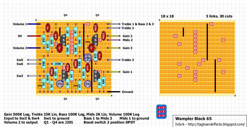 guitar fx layouts wampler black 65 the additional of the boost switch you can increase the gain to make it sound like the amp is being driven harder