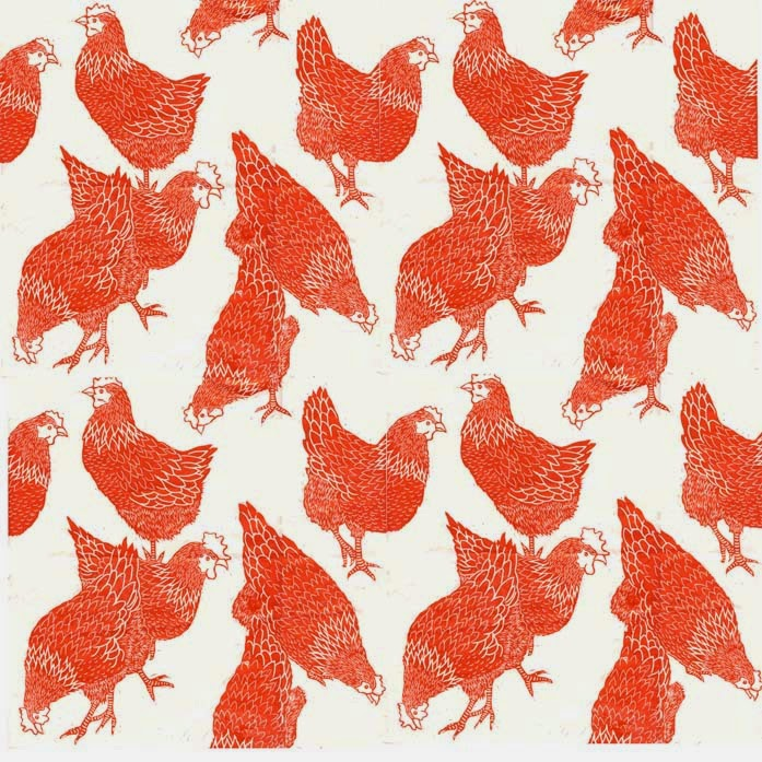 Hen linocut print as repeat pattern