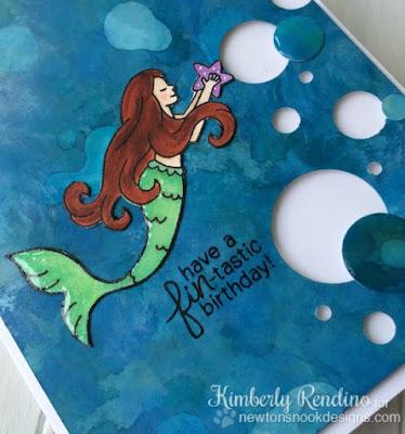 Mermaid Crossing card by Kimberly Rendino for Newton's Nook Designs | alcohol ink | mermaid | kimpletekreativity.blogspot.com