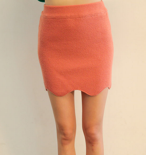 Scalloped Hem Knit Skirt