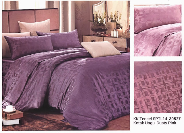 Sprei King Koil Tencel Motif Ungu Dusty Pink